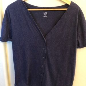 Nordstrom Short Sleeve Cardigan Navy Small